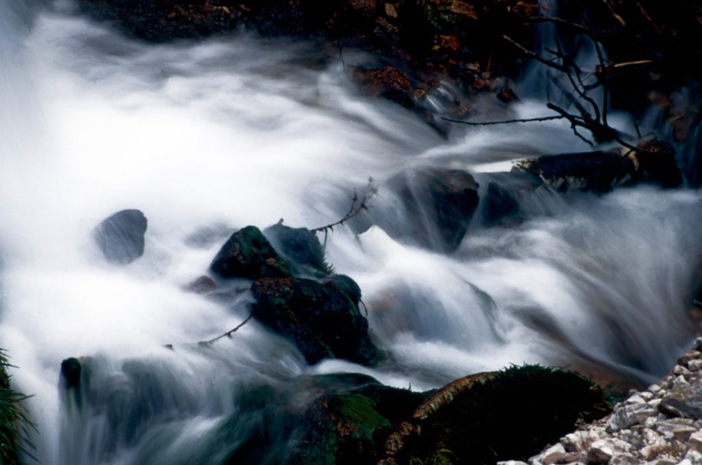 Rushing water over rocks