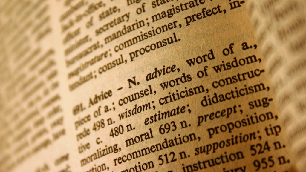A dictionary definition of advice